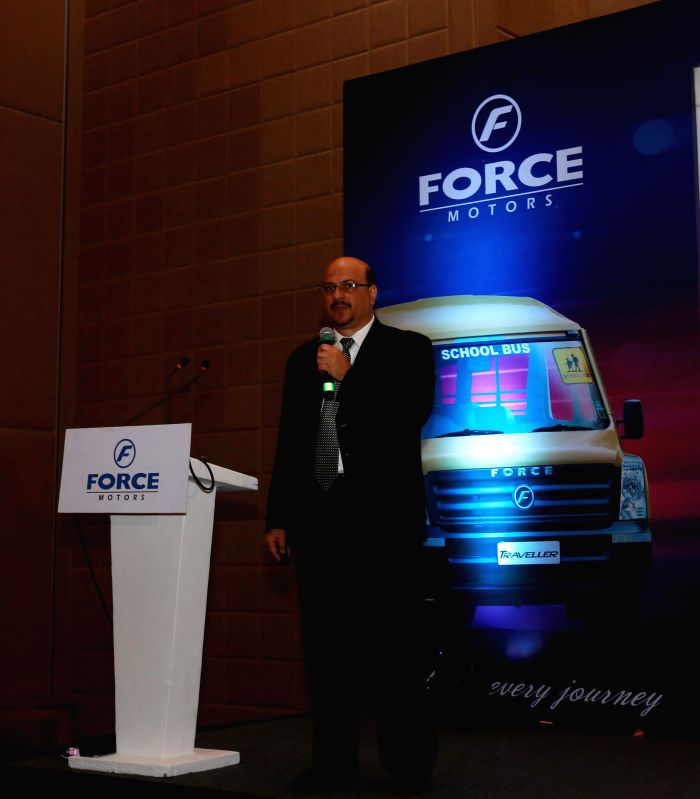 Force Motors President Sales and Marketing (Commercial and Personal Vehicles Division) Ashutosh Khosla at the launch of `Child Bus Tracker`- school bus in Kolkata, on Feb 13, 2015.