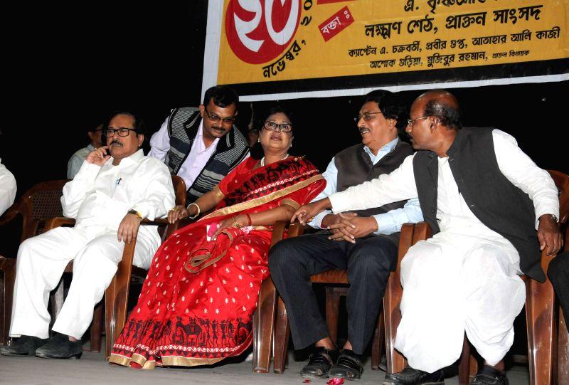 Former CPI(M) leaders Lakshman Seth, Tamalika Panda Seth and Ashok Guria during a meeting of National Confederacy of India in Kolkata, on Nov 23, 2014. - Lakshman Seth and Tamalika Panda Seth