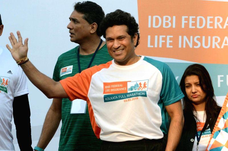Kolkata: Former Indian cricketer Sachin Tendulkar during the flagging off ceremony of IDBI Federal Life Insurance Kolkata Full Marathon, on Feb 3, 2019. (Photo: Kuntal Chakrabarty/IANS)