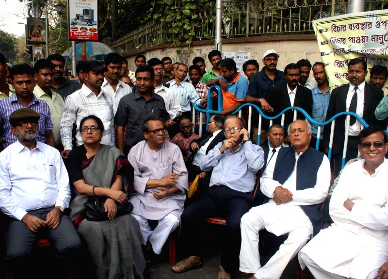 Former Mayor of Kolkata Bikash Ranjan Bhattacharya, former Supreme Court judge A.K. Ganguly, CPI (M) leader Mohammed Salim and others during a  Save Democracy Forum (SDF) protest rally ...