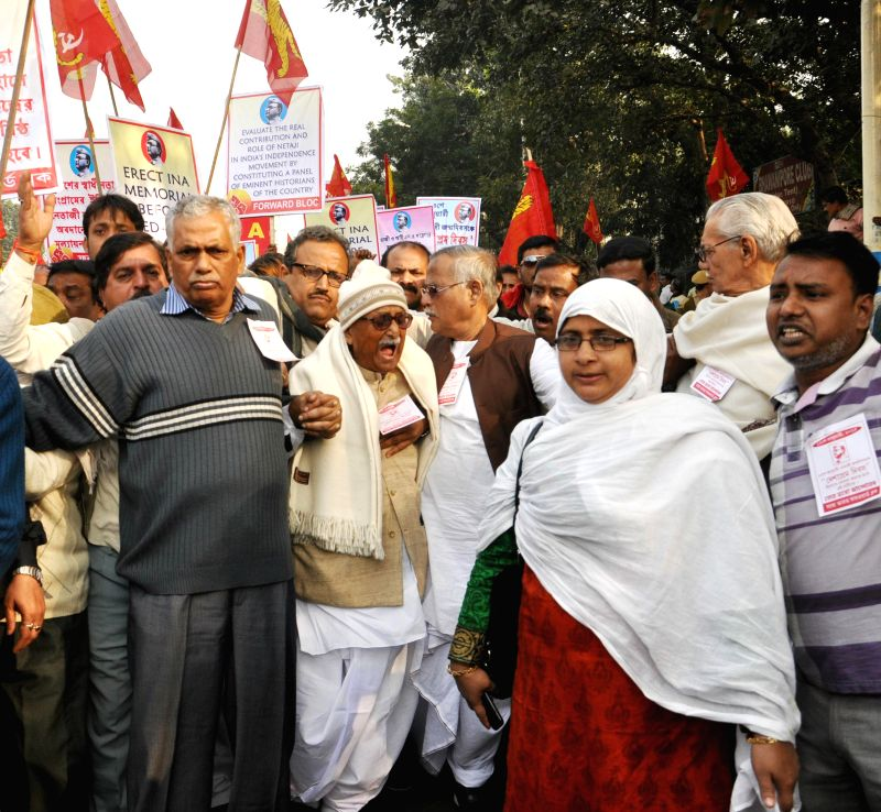 Forward Bloc leaders participate in a law violation programme to protest against West Bengal Government in Kolkata, on Jan 19, 2015.