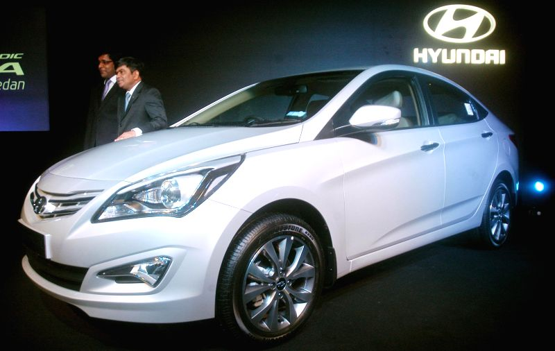 Hyundai Motor India (HMIL) Senior Vice President (Sales and Marketing) Rakesh Srivastava at the launch of new 4S Fluidic Verna in Kolkata, on Feb 20, 2015.