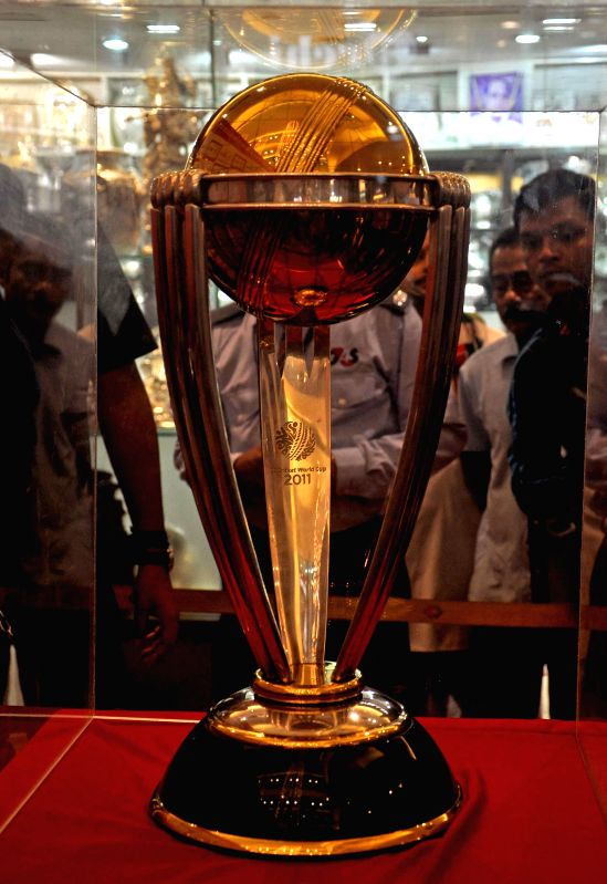 ICC Cricket World Cup Trophy kept on display for common people during a programme organised in Kolkata, on Jan 2, 2015.