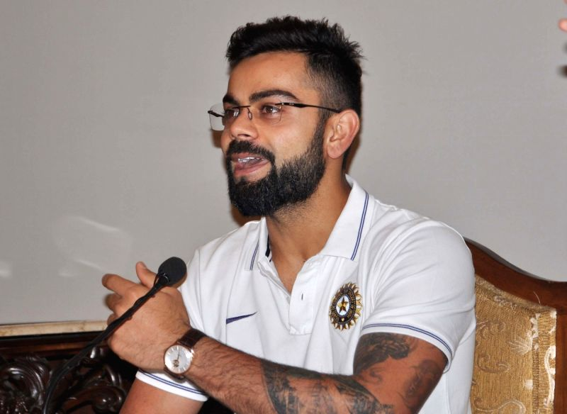 Kolkata: Indian captain Virat Kohli addresses a press conference in Kolkata, on Nov 15, 2017. (Photo: Kuntal Chakrabarty/IANS)