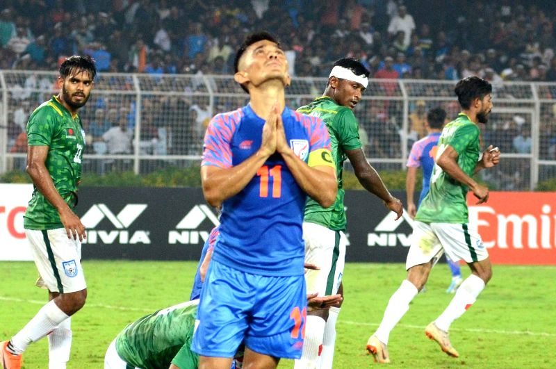 Kolkata: Indian football team's skipper Sunil Chhetri reacts during the FIFA World Cup Qatar 2022 Qualifier match between India and Bangladesh at the Vivekananda Yuba Bharati Krirangan in Kolkata on Oct 15, 2019. (Photo: Kuntal Chakrabarty/IANS)