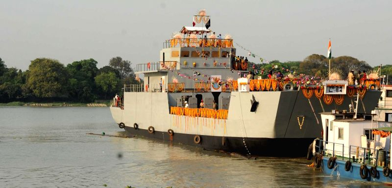 Indian Navy launches the fourth `Landing Craft Utility` built by GRSE in Kolkata, on March 23, 2015.