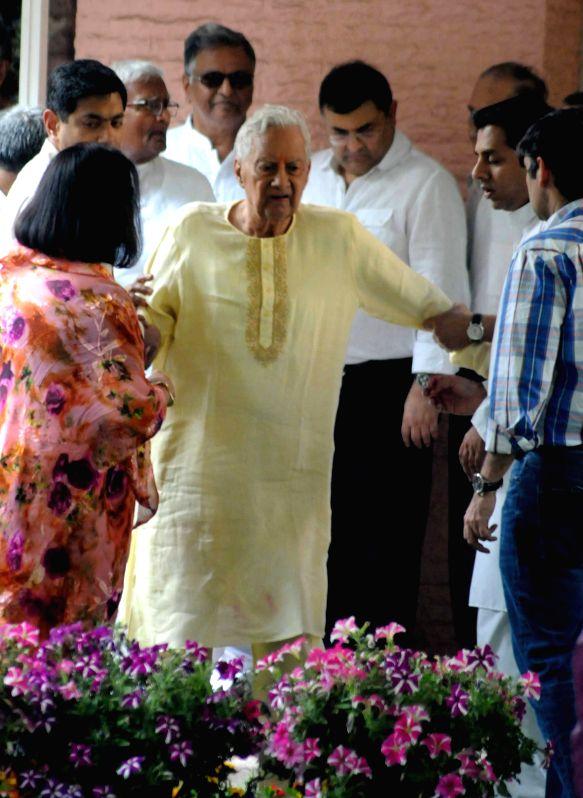 Industrialist B K Birla at the funeral of his wife Sarala Birla in Kolkata on March 29, 2015.