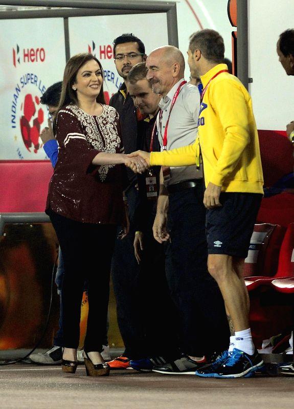 ISL chairperson Nita Ambani at the Salt Lake Stadium before an ISL semi-final match between Atletico de Kolkata and FC Goa in Kolkata, on Dec 14, 2014. - Nita Ambani