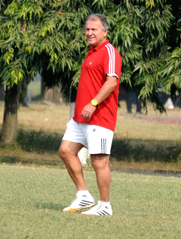 ISL team FC Goa coach Jico with players during practice session in Kolkata on Dec 7, 2014.