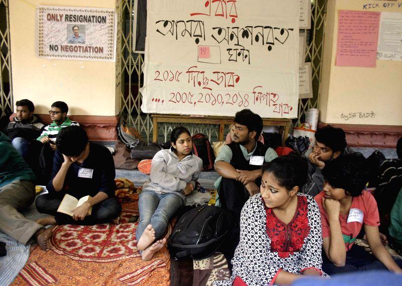 Jadavpur University students go on a hunger strike  at the university campus in Kolkata, on Jan 6, 2015.