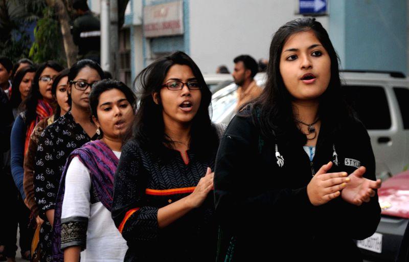 Jadavpur University students participate in a rally against the vice chancellor of the varsity Avijit Chakraborty in Kolkata on Jan 8, 2015. - Avijit Chakraborty
