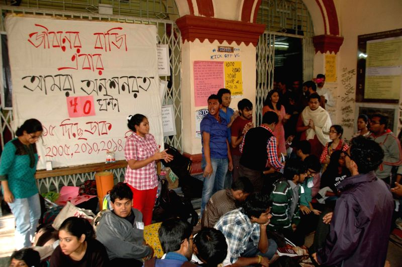 Jadavpur University students who are on a hunger strike to press for the removal of vice chancellor Abhijit Chakrabarti at the university campus in Kolkata, on Jan 7, 2015.