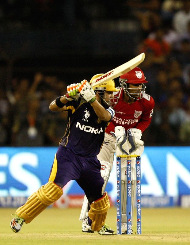 Kolkata Knight Riders batsman Gautam Gambhir in action during the 34th match of IPL 2014 between Kings XI Punjab and Kolkata Knight Riders at Barabati Stadium in Cuttack on May 11, 2014. - Gautam Gambhir