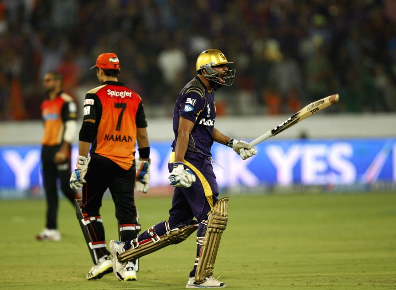 Kolkata Knight Riders batsman Yusuf Pathan reacts during 43rd match of IPL 2014 between Sunrisers Hyderabad and Kolkata Knight Riders at Rajiv Gandhi International Stadium in Hyderabad on May 18, ... - Yusuf Pathan