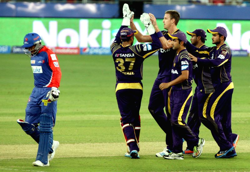 Kolkata Knight Riders bowler Morne Morkel celebrates fall of wicket during the match against Kolkata Knight Riders at Dubai International Cricket Stadium on April 19, 2014. - Morne Morkel