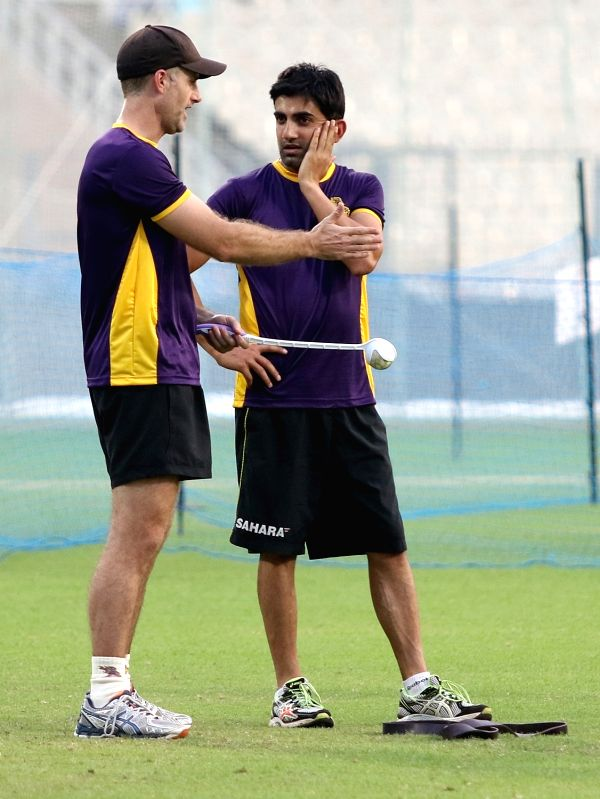 Kolkata Knight Riders captain Gautam Gambhir during a practice session ahead of IPL Season 9 at Eden Gardens in Kolkata on April 6, 2016. - Gautam Gambhir