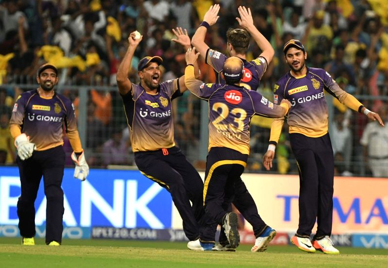 Kolkata Knight Riders celebrate after winning an IPL 2017 match between Kolkata Knight Riders and Royal Challengers Bangalore at Eden Gardens in Kolkata on April 23, 2017.