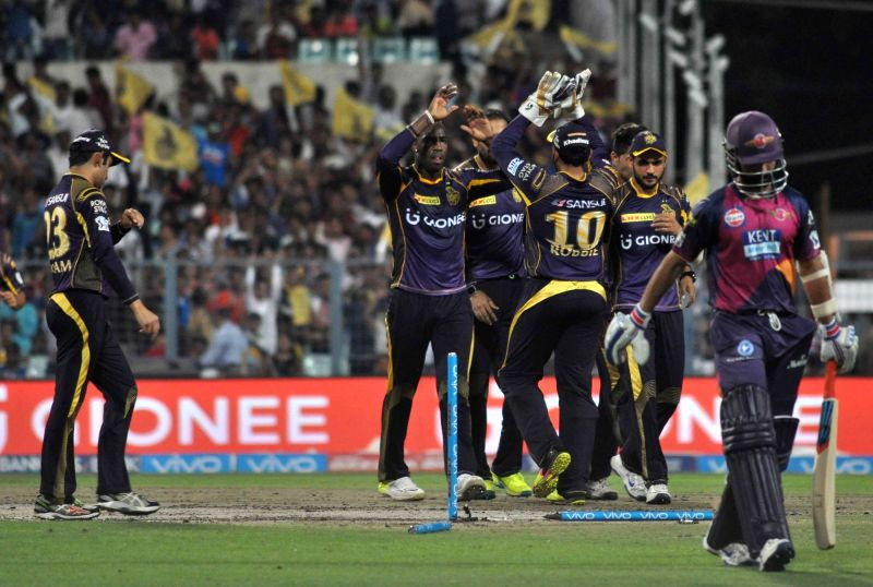 Kolkata Knight Riders celebrate fall of a wicket during an IPL match between Kolkata Knight Riders and Rising Pune Supergiants at Eden Gardens in Kolkata on May 14, 2016.