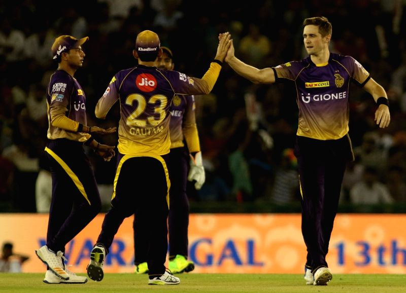 Kolkata Knight Riders celebrate fall of a wicket during an IPL 2017 match between Kings XI Punjab and Kolkata Knight Riders at Punjab Cricket Association IS Bindra Stadium in Mohali, Punjab ...