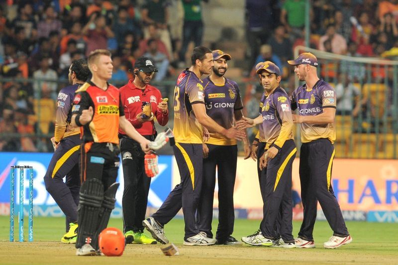 Kolkata Knight Riders celebrate fall of a wicket during the second qualifier of IPL 2017 between Kolkata Knight Riders and Sunrisers Hyderabad at M Chinnaswamy Stadium in Bengaluru on May ...