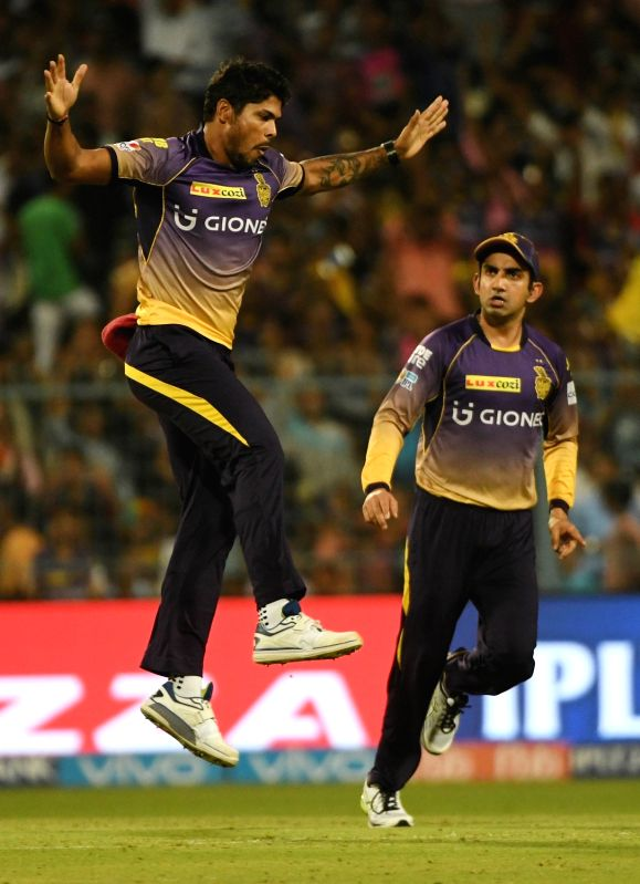 Kolkata Knight Riders celebrate fall of Ajinkya Rahane's wicket during an IPL 2017 match between Kolkata Knight Riders and Rising Pune Supergiant at Eden Gardens in Kolkata, on May 3, 2017.