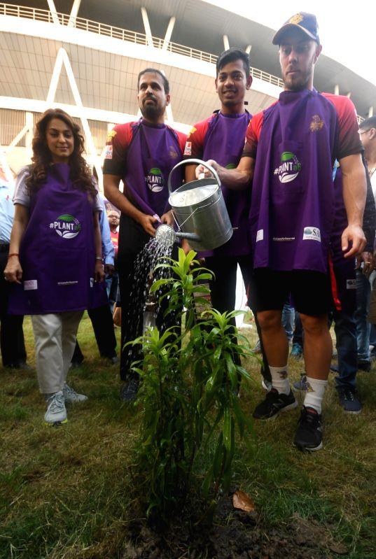 Kolkata Knight Riders co-owner Juhi Chawla plants a sapling at Eden Garden in Kolkata, on May 12, 2017. - Juhi Chawla