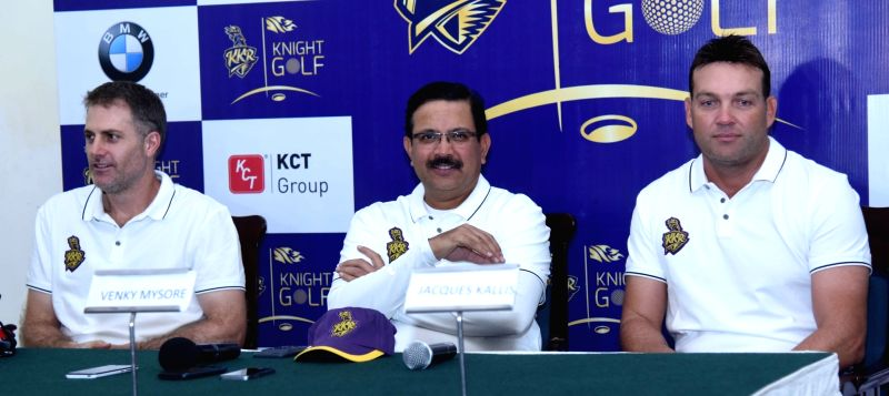Kolkata Knight Riders' coach Jacques Kallis, assistant coach Simon Katich with team's MD & CEO Venky Mysore during a promotional programme in Kolkata on May 11, 2017.