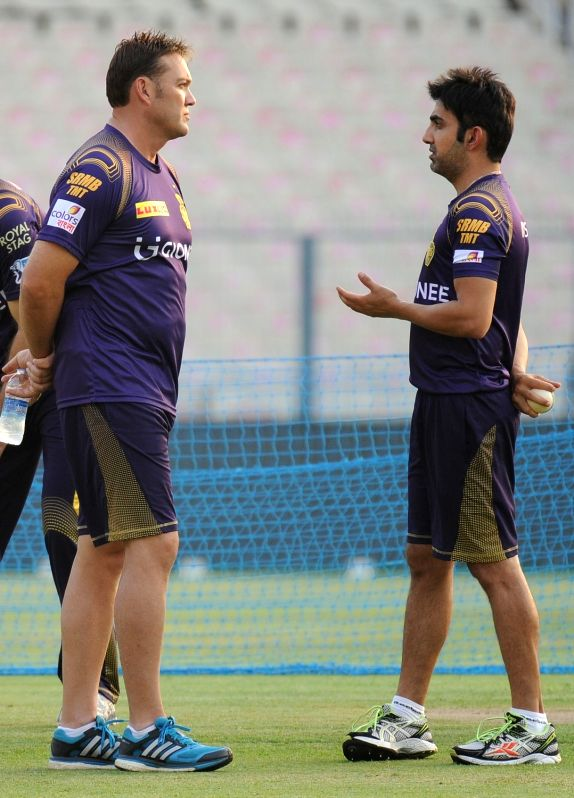 Kolkata Knight Riders coach Jacques Kallis and captain Gautam Gambhir during a practice session at Eden Gardens in Kolkata on May 13, 2016. - Gautam Gambhir