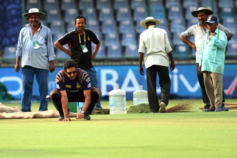 Kolkata Knight Riders coach Wasim Akram during a practice session at Feroz Shah Kotla Stadium, in New Delhi on May 24, 2016.