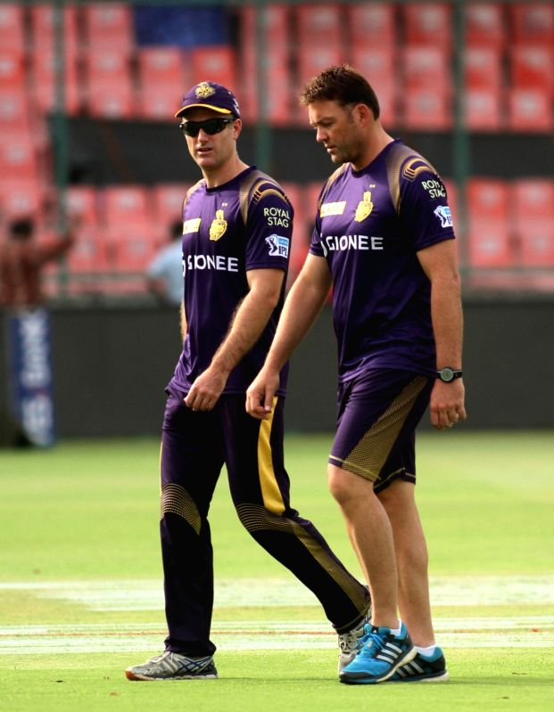 Kolkata Knight Riders coaches Simon Katich and Jacques Kallis during a practice session at Feroz Shah Kotla Stadium, in New Delhi on May 24, 2016.