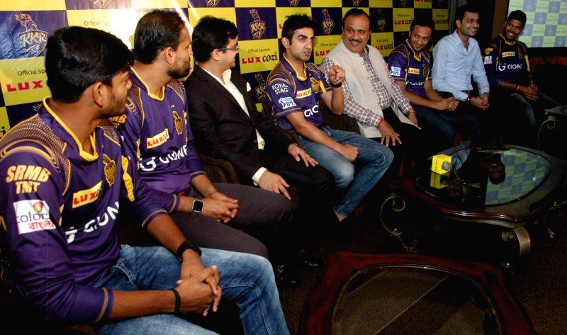 Kolkata Knight Riders including Gautam Gambhir and Yusuf Pathan during a programme in Kolkata, on May 15, 2016.