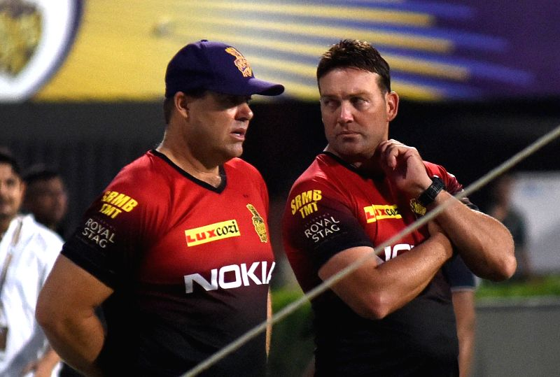 Kolkata Knight Riders (KKR) bowling coach Heath Streak and head coach Jacques Kallis during a practice session, in Kolkata on April 12, 2018.