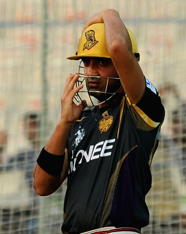 Kolkata Knight Riders (KKR) captain Gautam Gambhir during a practice session at the Eden Gardens in Kolkata, on April 10, 2015. - Gautam Gambhir
