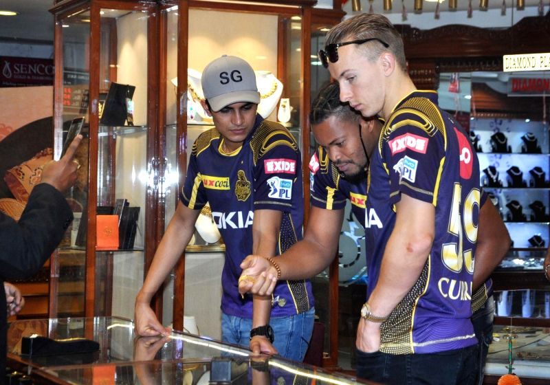 Kolkata Knight Riders (KKR) players Tom Curran, Javon Searles and Subhman Gill during a promotional programme in Kolkata on April 13, 2018.