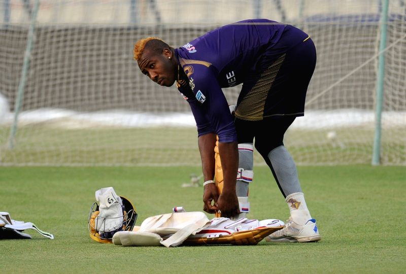 Kolkata Knight Riders player Andre Russell during a practice session at Eden Gardens in Kolkata on May 13, 2016.