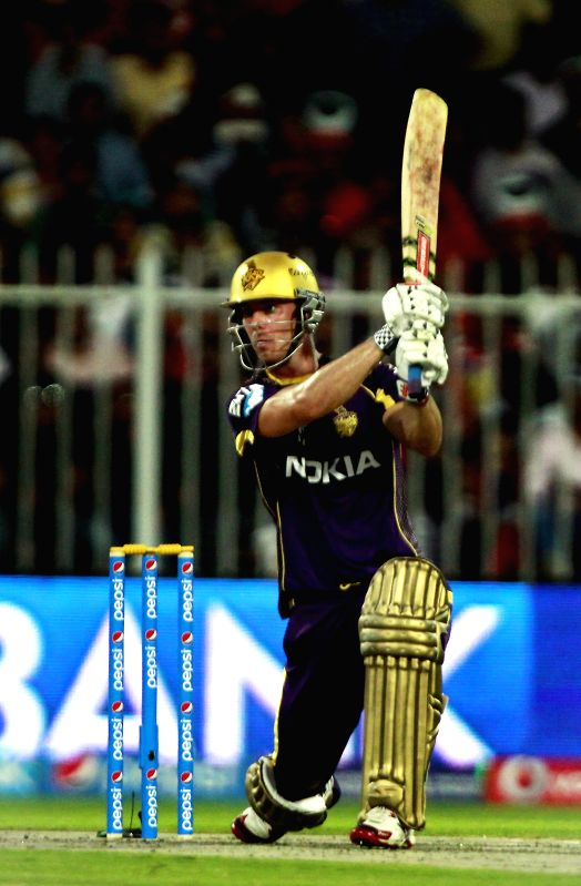 Kolkata Knight Riders player Chris Lynn in action during the 11th match of IPL 2014 between Kolkata Knight Riders and Royal Challengers Bangalore, played at Sharjah Cricket Stadium in Sharjah of ...