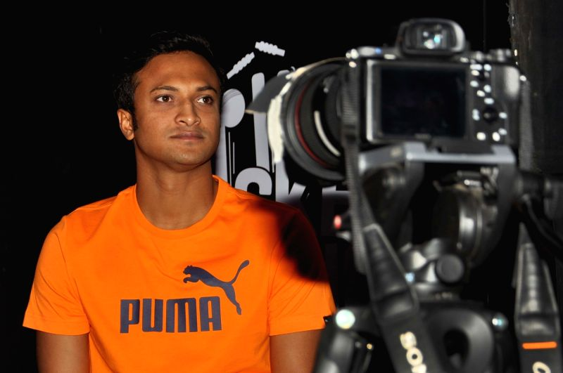 Kolkata Knight Riders player Shakib Al Hasan during a programme organised to promote a Sports goods manufacturing brand in Kolkata on May 2, 2017.