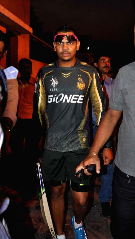 Kolkata Knight Riders player Sunil Narine after a practice session at the Eden Gardens in Kolkata, on April 5, 2015.