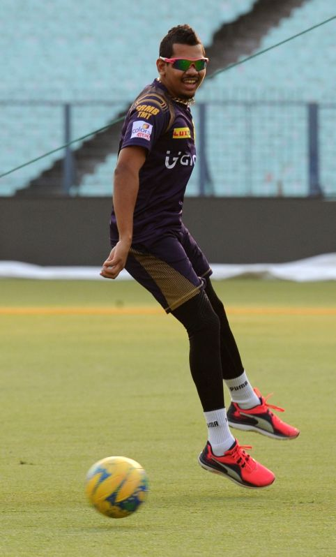 Kolkata Knight Riders player Sunil Narine during a practice session at Eden Gardens in Kolkata on May 13, 2016.