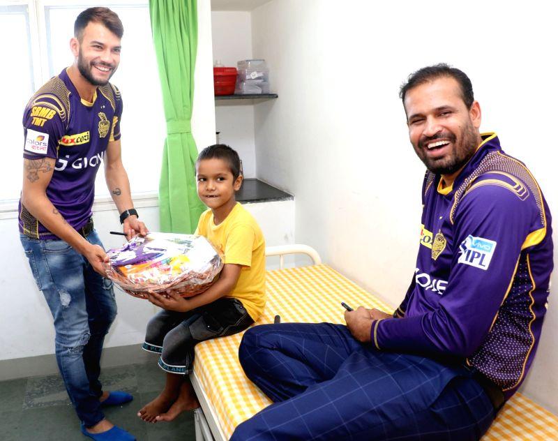 Kolkata Knight Riders players visit St. Jude India Child Care Centres in Kolkata on May 7, 2016.