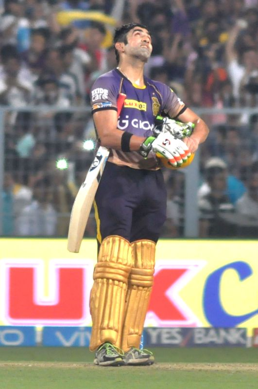 Kolkata Knight Riders skipper Gautam Gambhir reacts after winning an IPL 2017 match between Kolkata Knight Riders and Delhi Daredevils at Eden Gardens in Kolkata on April 28, 2017.