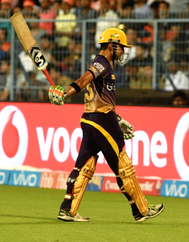Kolkata Knight Riders skipper Gautam Gambhir walks back to the pavilion after getting dismissed during an IPL 2017 match between Kolkata Knight Riders and Rising Pune Supergiant at Eden ...