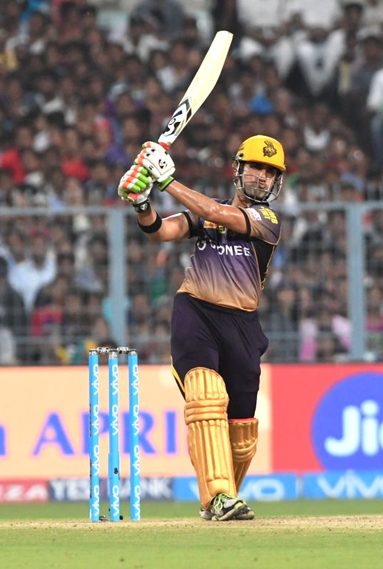 Kolkata Knight Riders skipper Gautam Gambhir in action during an IPL 2017 match between Kolkata Knight Riders and Delhi Daredevils at Eden Gardens in Kolkata on April 28, 2017.