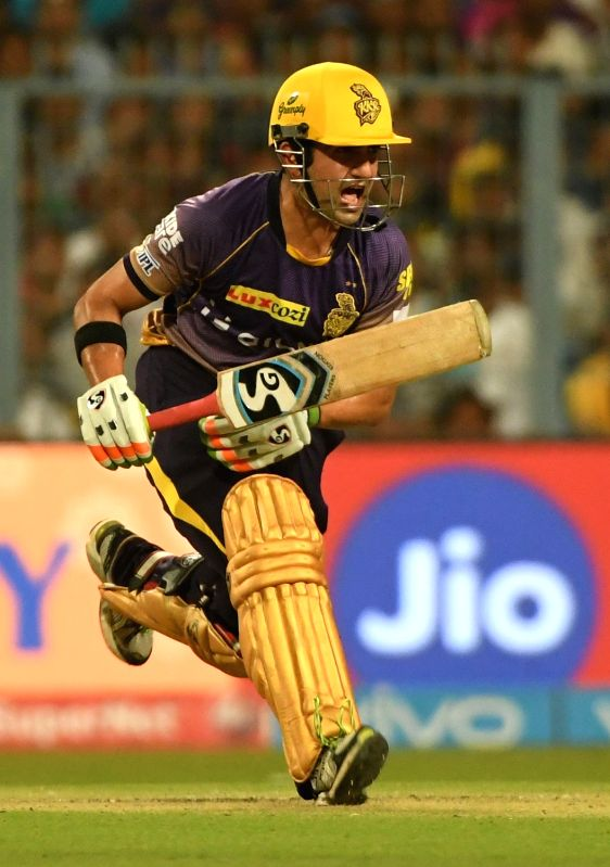 Kolkata Knight Riders skipper Gautam Gambhir in action during an IPL 2017 match between Kolkata Knight Riders and Rising Pune Supergiant at Eden Gardens in Kolkata, on May 3, 2017.