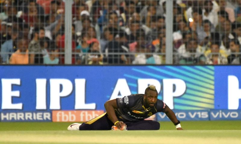Kolkata Knight Riders' Andre Russell during the 35th match of IPL 2019 between Kolkata Knight Riders and Royal Challengers Bangalore