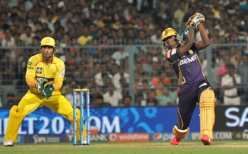 Kolkata Knight Riders batsman Andre Russell in action during an IPL-2015 match between Chennai Super Kings and Kolkata Knight Riders in Kolkata, on April 30, 2015. - Andre Russell