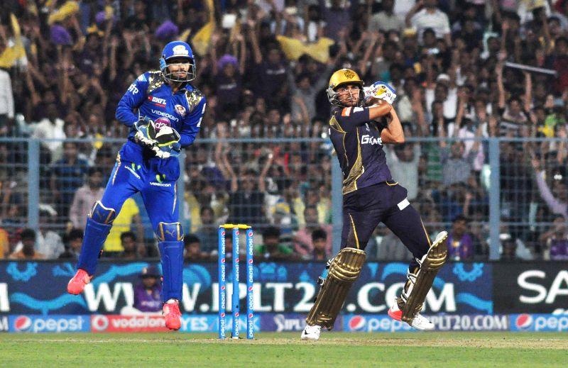 Kolkata Knight Riders batsman Manish Pandey in action during an IPL-2015 match between Kolkata Knight Riders and Mumbai Indians in Kolkata, on April 8, 2015. - Manish Pandey