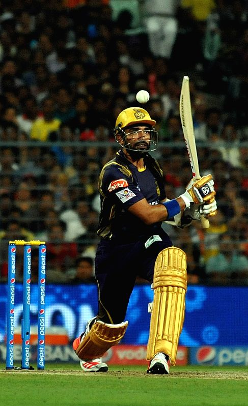 Kolkata Knight Riders batsman Robin Uthappa in action during an IPL-2015 match between Chennai Super Kings and Kolkata Knight Riders in Kolkata, on April 30, 2015. - Robin Uthappa