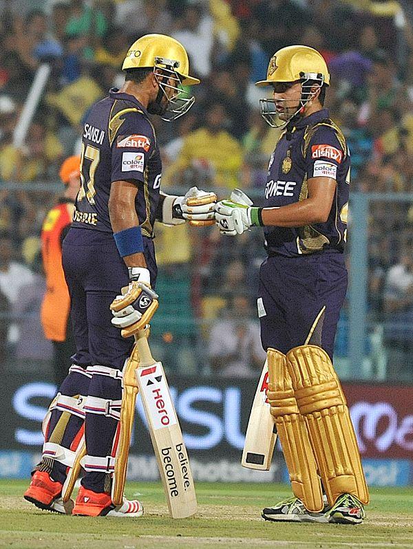 Kolkata Knight Riders batsmen Gautam Gambhir and Robin Uthappa during an IPL 2015 match between Kolkata Knight Riders and Sunrisers Hyderabad at the Eden Gardens in Kolkata, on May 4, 2015.