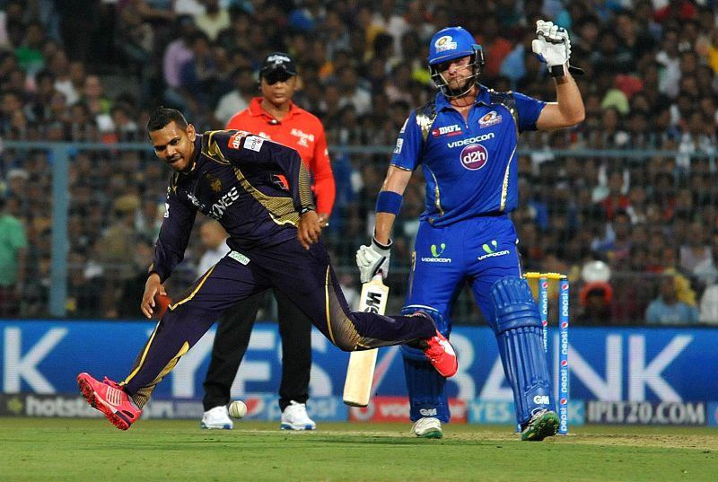 Kolkata Knight Riders bowler Sunil Narine and Mumbai Indians batsman Corey Anderson during an IPL-2015 match between Kolkata Knight Riders and Mumbai Indians in Kolkata, on April 8, 2015. - Sunil Narine